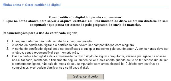 Tela Gerar certificado digital